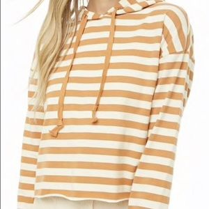 Forever 21 Light Brown and Cream striped Hoodie